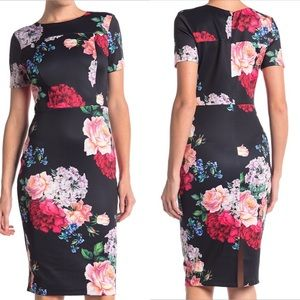 NWT Alexa Admor Scuba Floral Sheath Dress